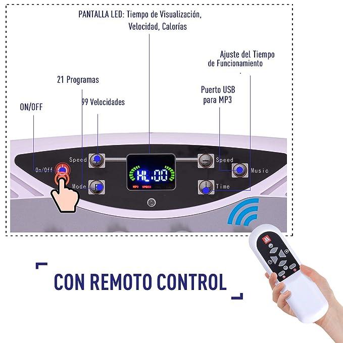 HOMCOM Plataforma Vibratoria Placa de Vibración para Fitness ...