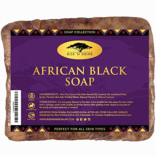 (16 oz) Raw African Black Soap with Coconut Oil and Shea Butter - Body