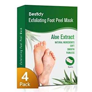Foot Peel Mask 4 Pack,Exfoliating Foot Mask Booties Natural Baby Foot Care Treatment Peeling Off Calluses and Dead Skin Cells Removes & Repairs Rough Heels For Men & Women