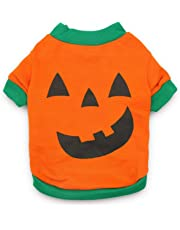 DroolingDog Pet Clothes Dog Halloween T-Shirt Pumpkin Head Costume for Small Dogs, Small, Deep Green