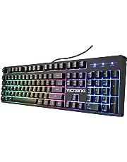 VicTsing Gaming Tastatur (QWERTZ), mechanisches Gefühl USB Tastatur, RGB Hintergrundbeleuchtung Tastatur mit Kabel, 19 Tasten Anti-Ghosting, 12 Multimedia-Tasten für PC/Laptop/Desktop-schwarz