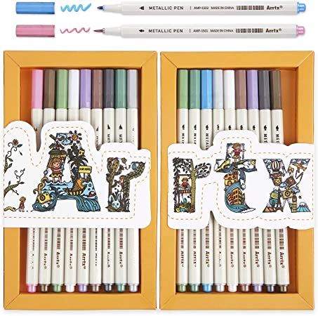 Arrtx Metallic Marker Pens, 10 Assorted Colors 20 Marker Pens with Fine Point and Soft Brush Tip, Perfect for DIY Photo Album, Art Rock Painting, Card Making, Bullet Journal, Plastic, Glass, Wood