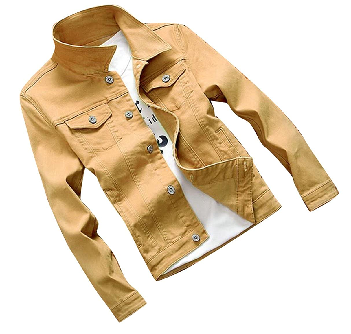 Suncolor8 Mens Casual Long Sleeve Button Front Denim Jacket Coat Outerwear