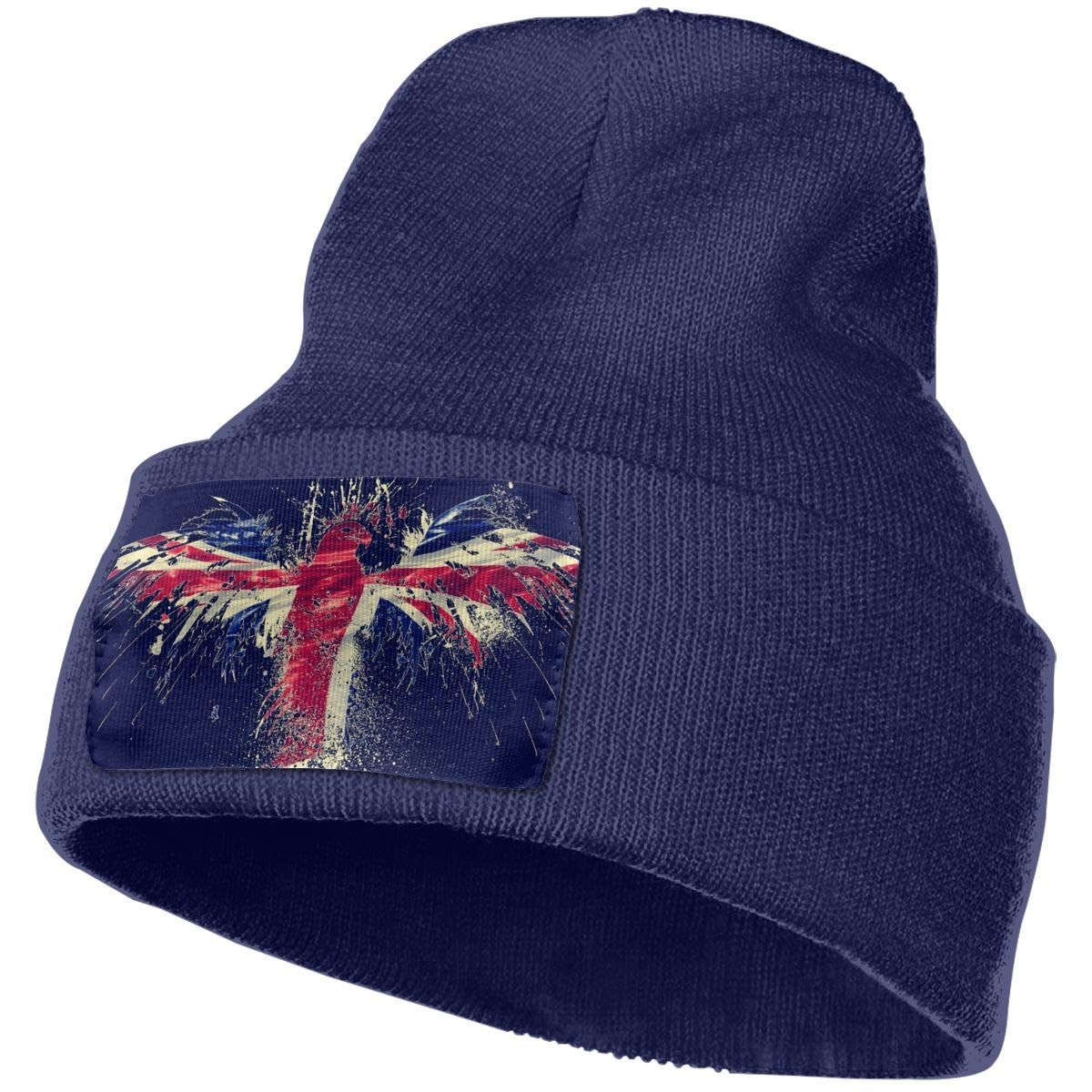 England Flag with USA Eagle Vintagedesign Hat for Men and Women Winter Warm Hats Knit Slouchy Thick Skull Cap Black
