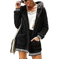 trudge Mujer Chaqueta de Felpa Chaqueta Invierno con Capucha Outwear Streetwear Abrigo Cárdigan Casual con Bolsillos…