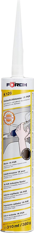 förch 1K-PUR adhesiva Masilla de sellado K126 alerón pegamentosaliendo carrocería pegamentosaliendo colour negro 310 ml