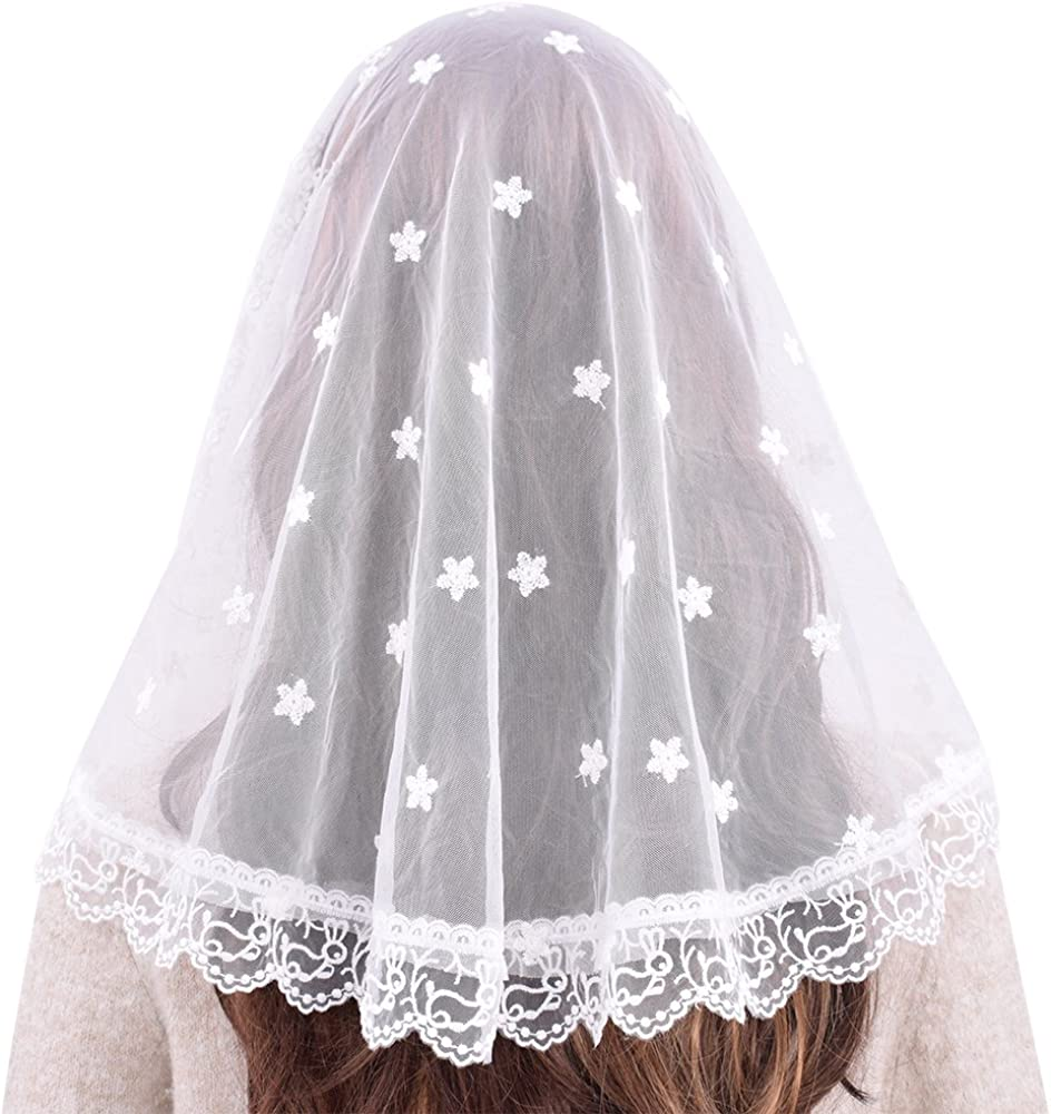 White veils and mantilla Catholic church chapel scarf lace headcovering latin WN
