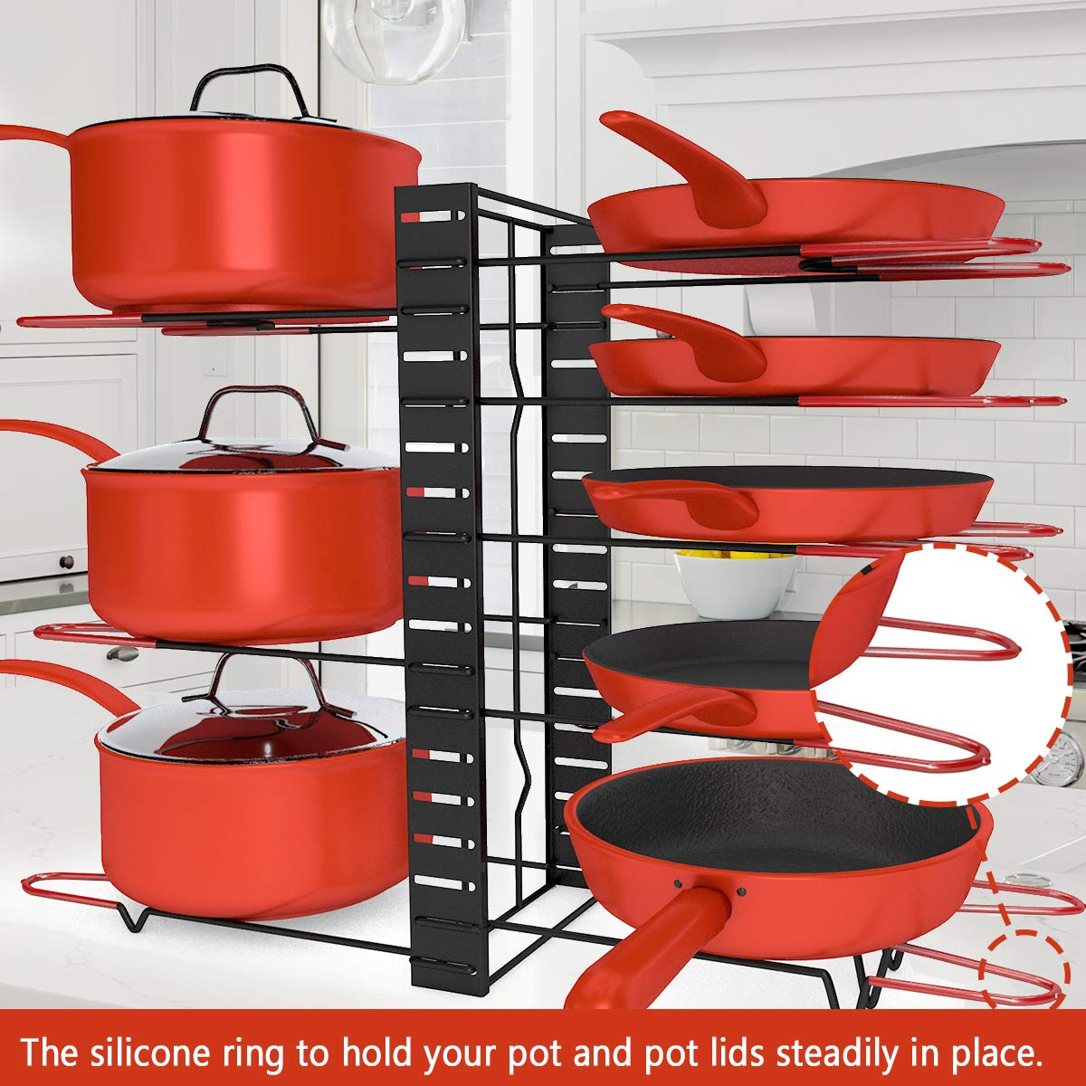 MCIRCO Pot Rack Organizer, 3 DIY Methods, Height and Position are Adjustable 8+ Pots Holder, Black Metal Kitchen Cabinet Pantry Pot Lid Holder by Mcirco (Image #5)