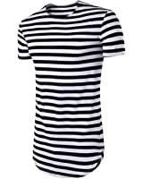 Anthony Moore 2017 Summer Cotton Men Long Section T-Shirt Striped Short Sleeve Camisetas