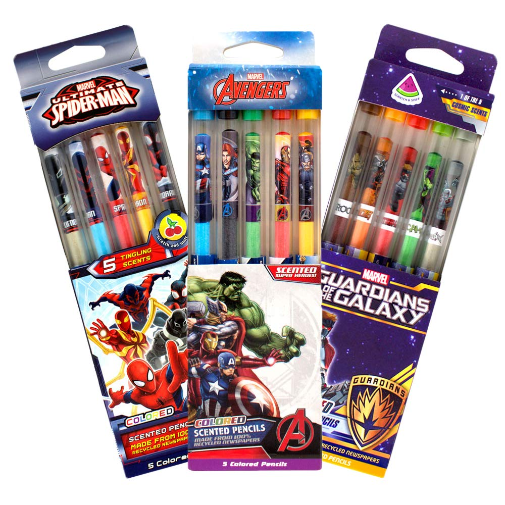 Scentco Marvel Avengers Colored Smencils - Scented Coloring Pencils, 15 Count by Scentco