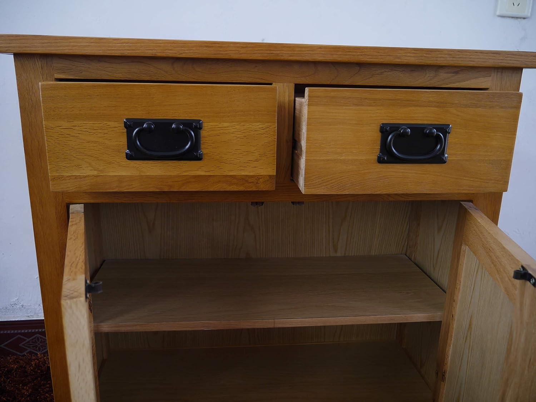 OAK Furniture Petit Buffet en ch/êne//2 Portes 1 tiroir de Rangement pour Le Salon