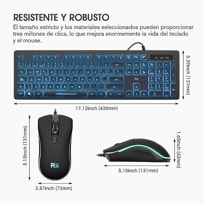 Rii Rk105 RGB Teclado y Ratón Retroiluminado con Cables ,Pack de teclado y ratón para gamers para PC Gamers, Oficina, Diseño Gráfico.
