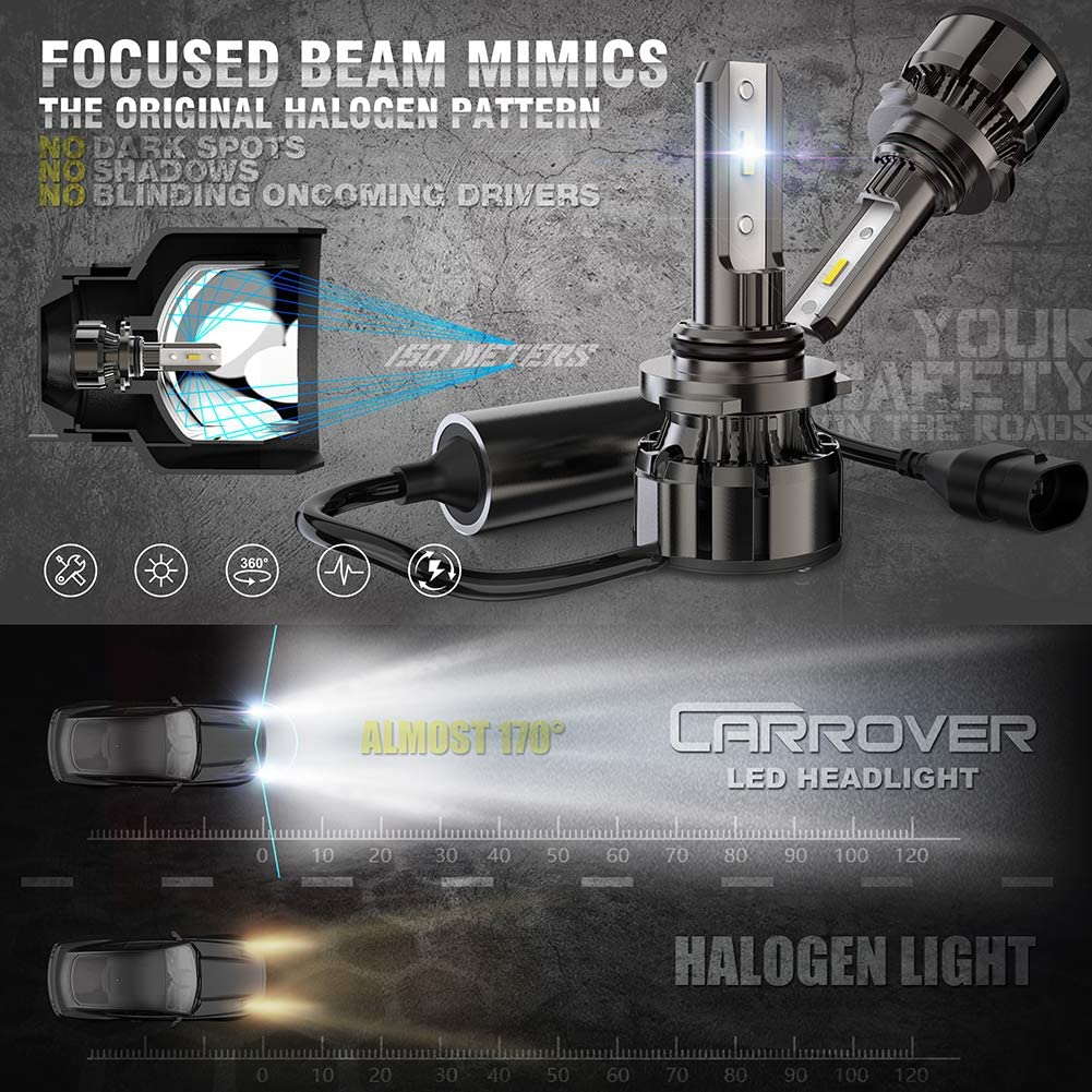 CAR ROVER 9005//HB3 High Beam 9006//HB4 Low Beam LED Headlight Bulbs Combo Package CSP Chips 6000K Xenon White