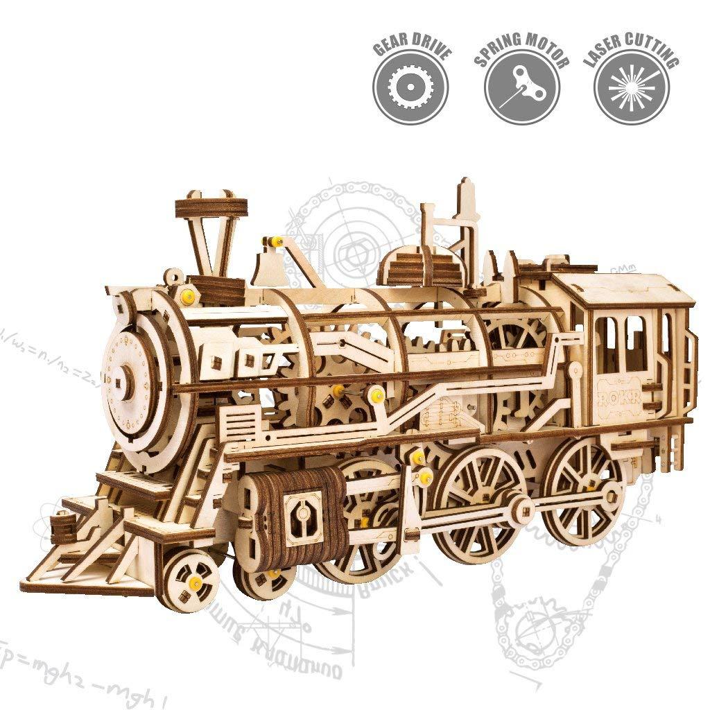 QJXF 3D Holzmechanisches Jigsage-Puzzle-Erwachsene Modell Kit-BAU Modell Kits Gear Sports Locomotive Spielzeug für 14 Jahre alt und Oben-Kreativer Geburtstag für Kind