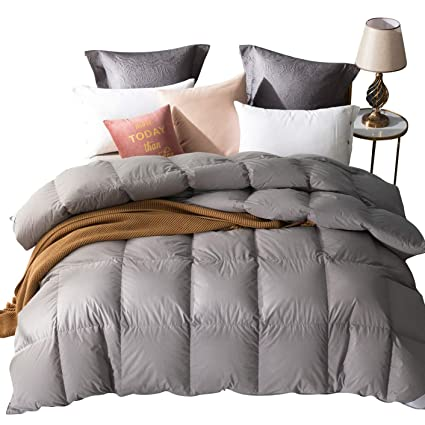 55f6aaabdca Amazon Brand: UMI. Essentials Goose Feather and Down Duvet with 100% Cotton  Down-Proof Fabric (13.5 Tog, Double, Grey)