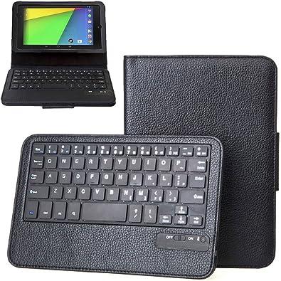 KHOMO ® Funda Negra Protectora con Teclado Bluetooth Inalámbrico para Tabletas