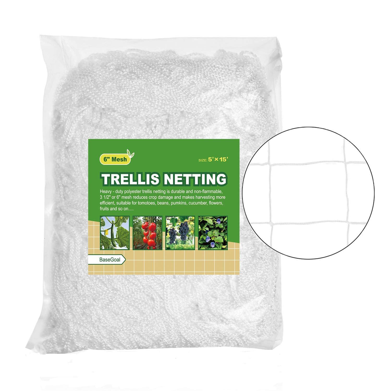 "BaseGoal All-Weather Trellis Netting Garden Vine Plant Growing Flexible String Net (6"" Mesh, 5' x 15'Size-1Pack)"