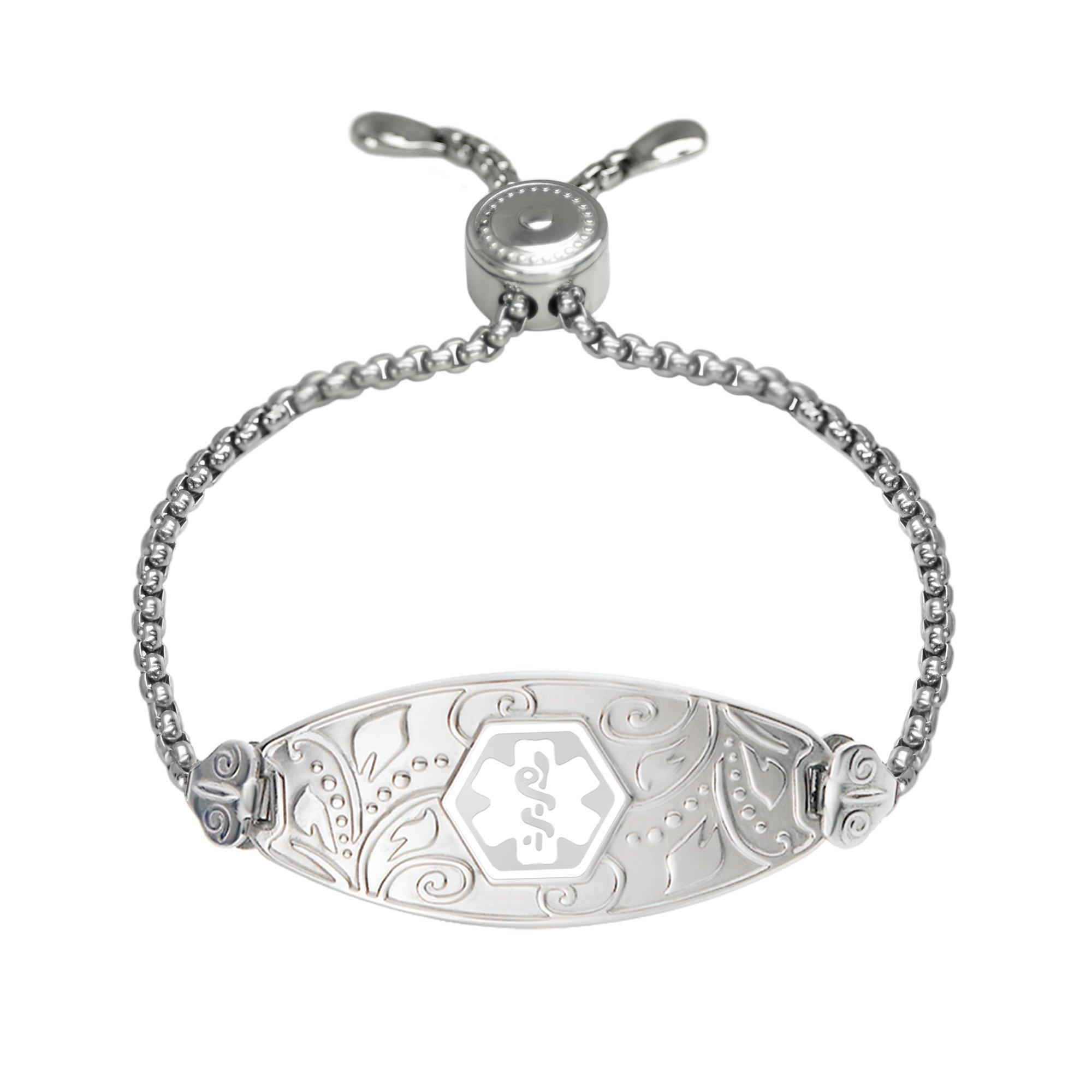 Divoti Custom Engraved 316L Lovely Filigree Medical Alert Bracelet For Women - Ajustable - Easy-on Chain-White-L