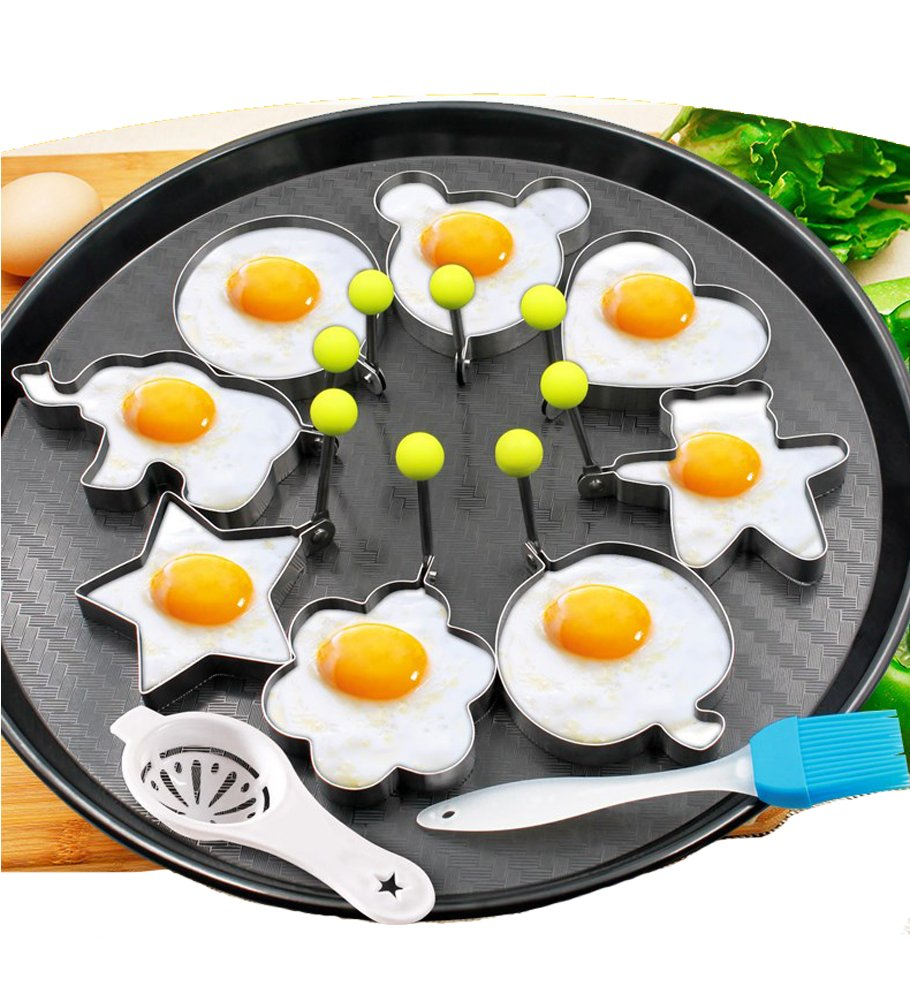 8pcs Fried Egg Molds Rings Egg Different Shapes Stainless Steel with 1pc Silicone Pastry Brush and Yolk White Seperator Kitchen Cooking Tools - Set of 10 GOOTUUG JDKL-P01
