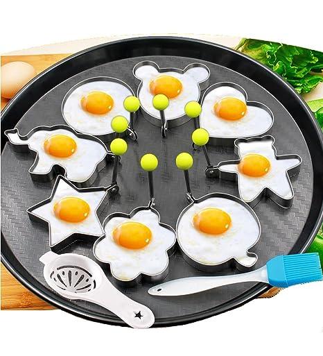 8pcs huevos fritos moldes anillos huevo diferentes formas de acero inoxidable con pincel de silicona 1pc Pastel y yema de oliva Cocina Cocina Blanco ...