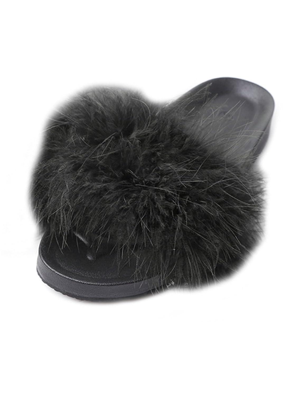 Lalang Frauen Schouml;n Gefieder Mouml;bel Schuhe Sandalen Slipper im Freien Flip-Flops Sandalen  36 EU|Schwarz