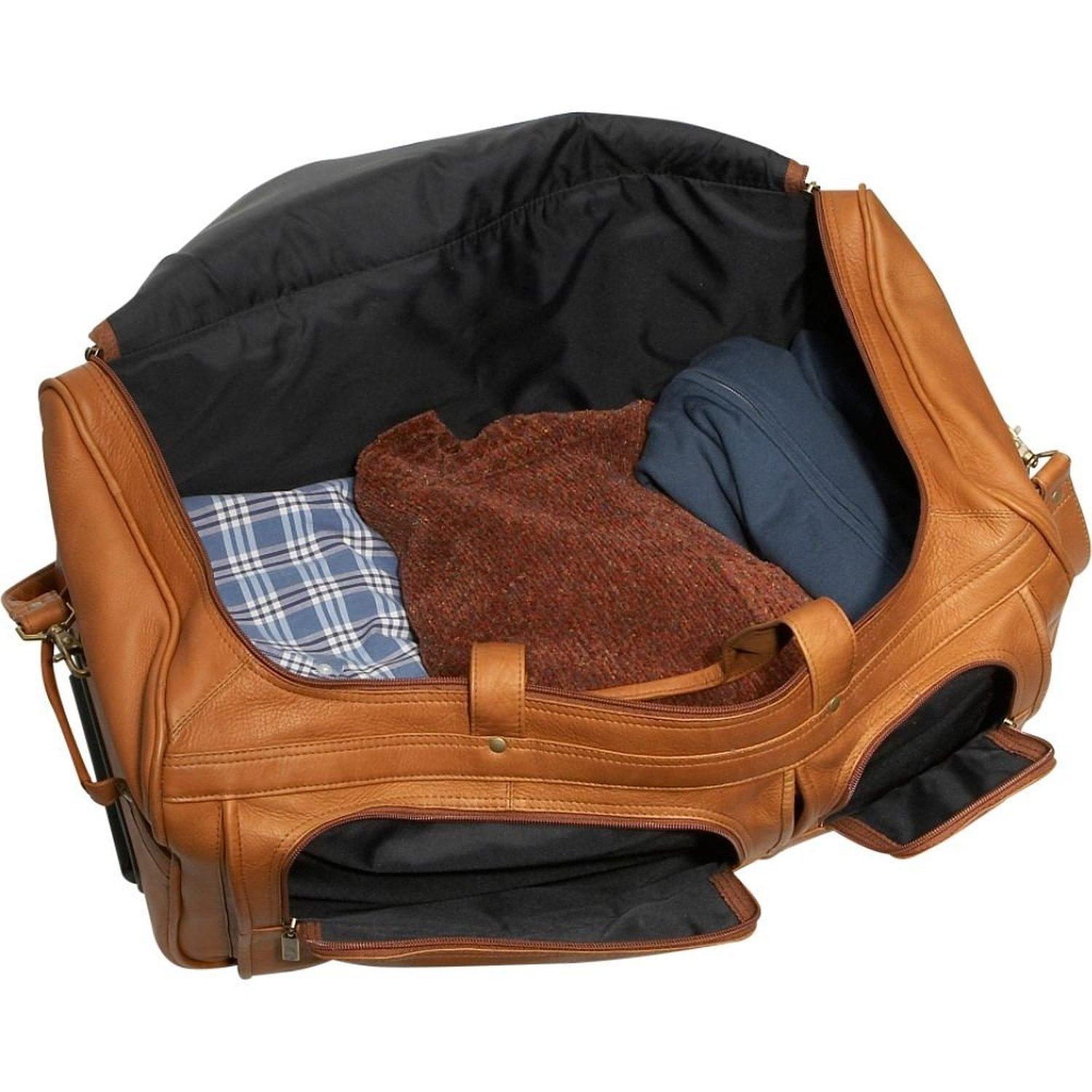 David King Leather 20 Rolling Duffel Bag in Cafe