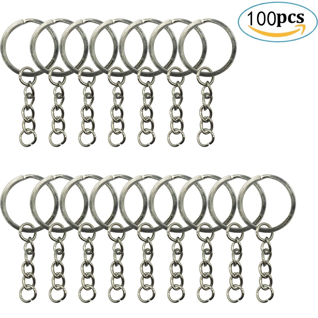 "100 Pieces Metal Split Key Ring with Chain - HYHP 1""/ 25mm Silver Key Ring Keychain Ring Parts Open Jump Ring and Connect for Your DIY Key Ring"