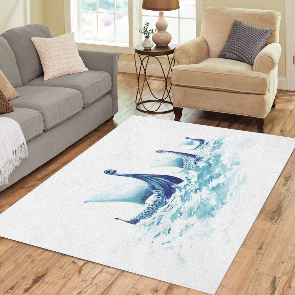Semtomn Area Rug 2 X 3 Blue Coast Sea and Beach in Oil Painting Yellow Home Decor Collection Floor Rugs Carpet for Living Room Bedroom Dining Room