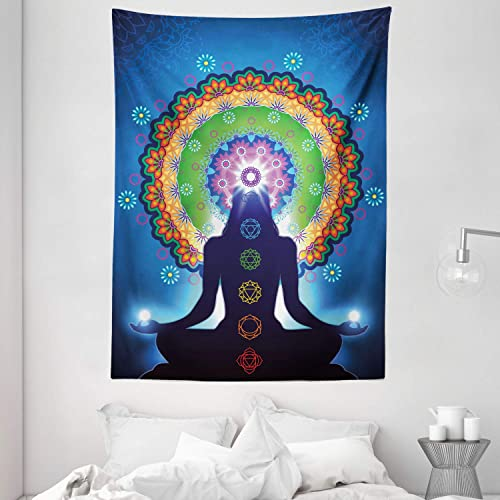 Ambesonne Chakra Tapestry, Silhouette of Woman Doing Yoga with Vertical Blending Effects and Mesh Peace Motif, Wall Hanging for Bedroom Living Room Dorm Decor, 60 X 80 , Blue Orange