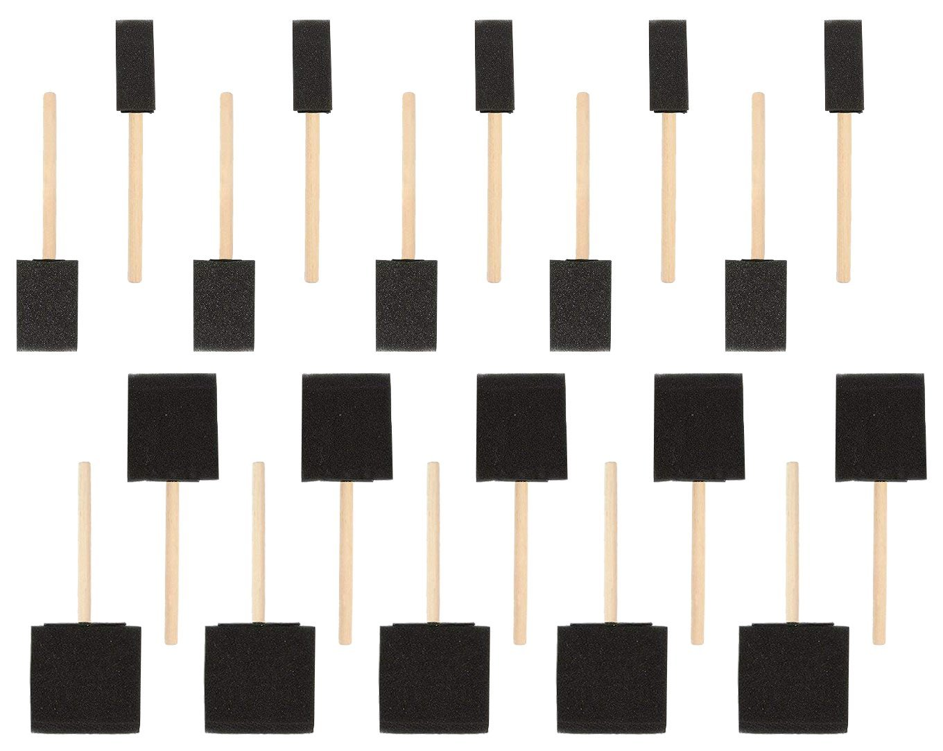 20-Pack Foam Paint Brush Set - 4 Different Sizes Poly Foam Sponge Brushes with Wooden Handles - Value Pack - Great for Acrylics, Oil Stains, Varnishes, Watercolor, Painting, Crafts, Art Juvale 4336956526