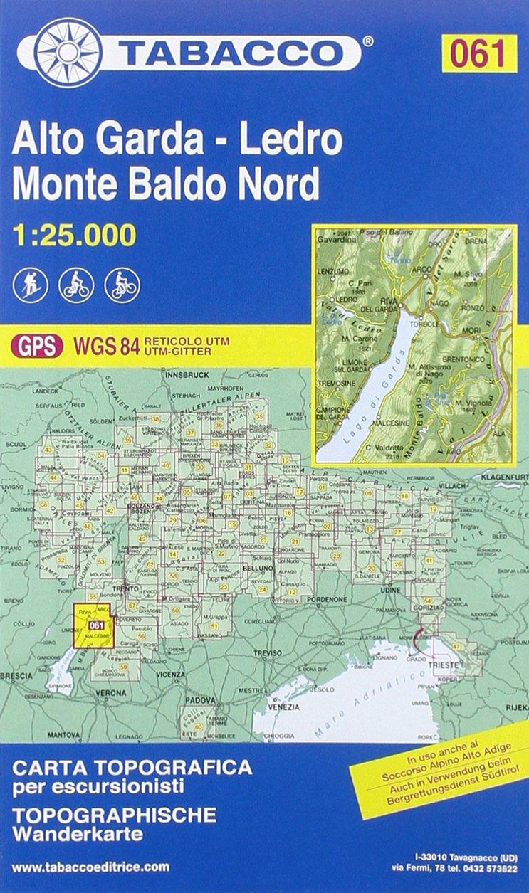 Cartina Topografica Lago Di Garda.Amazon It Tabacco Wandern 1 25 000 Alto Garda Ledro Monte Baldo Nord Lingua Inglese 61 Tabacco Editrice Libri