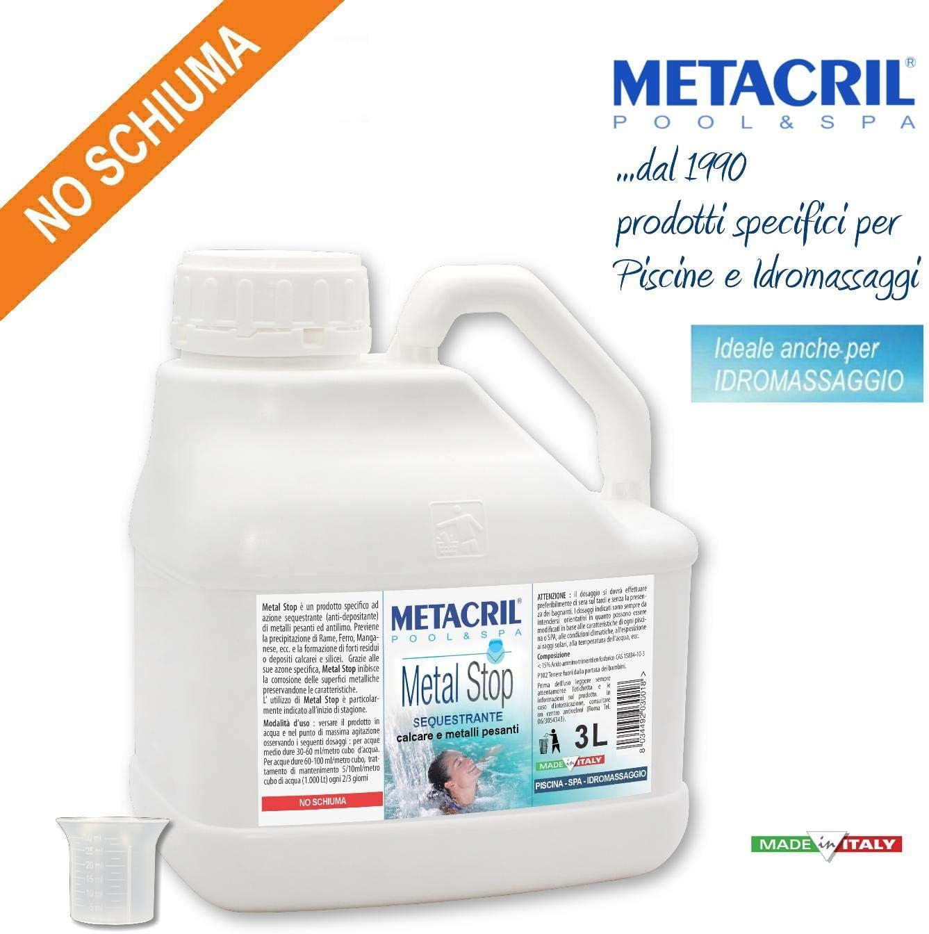 Secuestrante de los Metales y aclarante no espumoso - Metal Stop 3 l. + dosificador. Ideal para Piscina o hidromasaje (Teuco, Jacuzzi,Intex,Bestway,ECC). Envío inmediato.