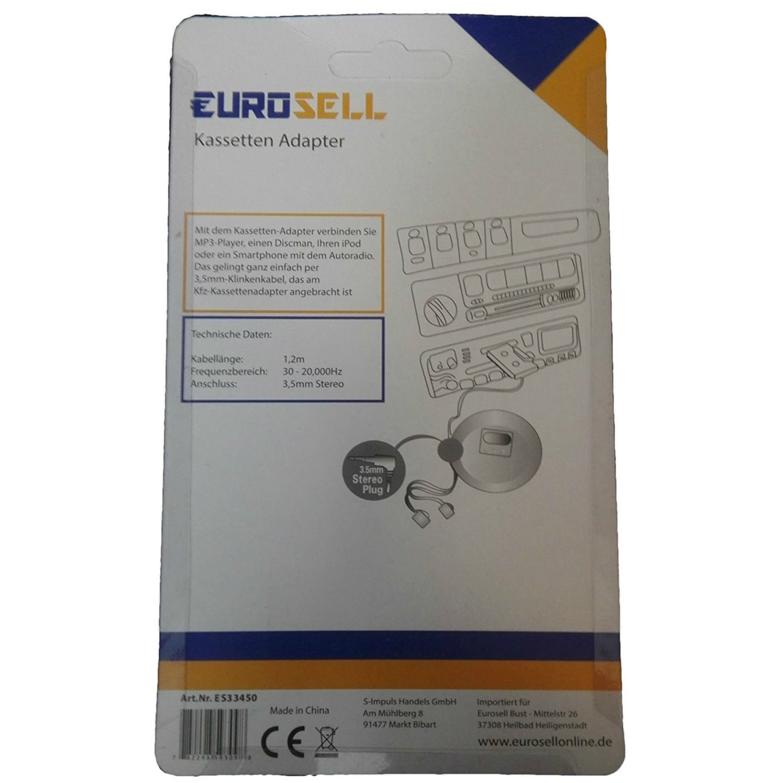 Eurosell smartphone iPhone tablet adattatore per cassetta autoradio dotato di spinotto da 3,5/mm per connettore AUX per cellulare MP3,/iPod ecc.