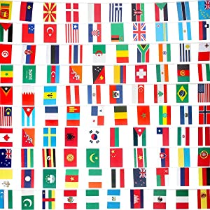 FAREVER International Flags Banner, 100 Countries String Flags World Flags Banner for Party, Grand Opening, Sports Events, International Festival, Bar, Decorations, Olympic Games