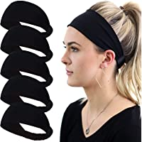 Workout Headband for Women Men - Non slip Sweatband - Stretchy Soft Hair Head Band Set - Sports Fitness Exercise Tennis…