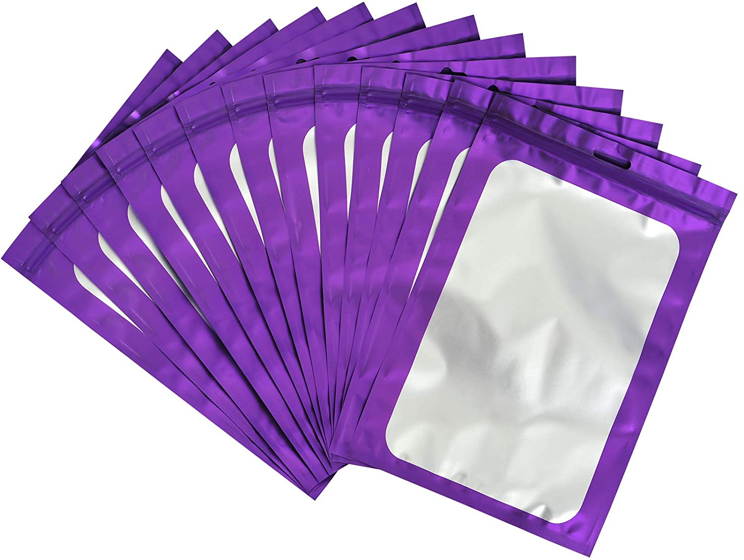 100-pack resealable mylar ziplock bags with front window Smell Proof bag packaging pouch bag for lip gloss eyelash cookies sample food jewelry electronics |flat|cute|(Purple, 3.14×5.11 inches)