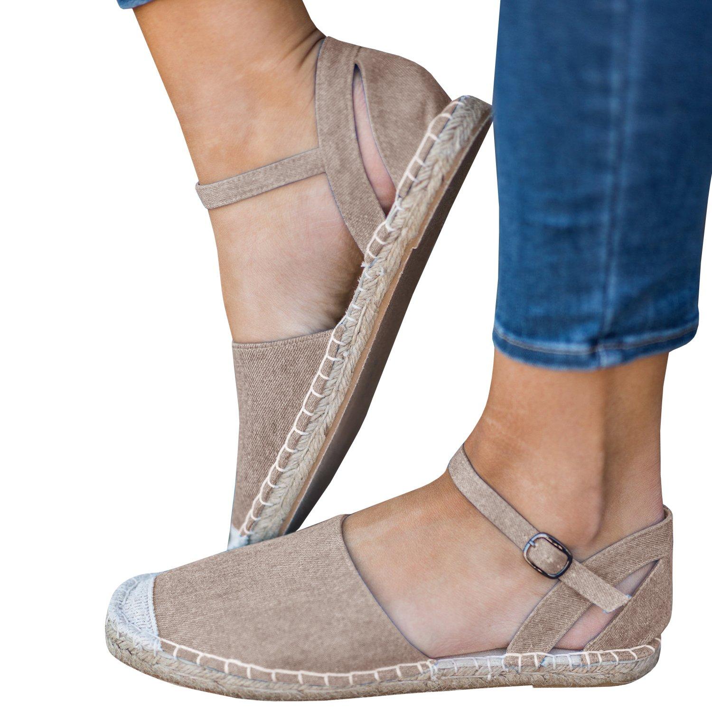 Gemijacka Damen Knouml;chel Schnalle Riemen Espadrilles Ausgeschnitten Binden Niet Klassischen Sommer Flache Sandale Schuhe  37 EU|4-beige