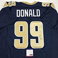 $134 » Autographed/Signed Aaron Donald Los Angeles LA Dark Blue Football Jersey PSA/DNA COA