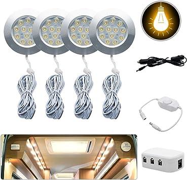 Warm Light MASO 4x12V Interior LED Spot Light Charger For Camper Van Motorhome Car Interior Lights