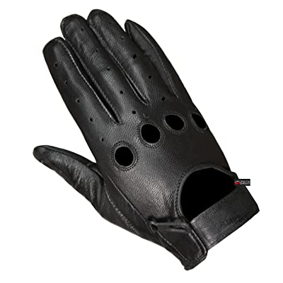 New Biker Police Leather Motorcycle Riding Ventilation Driving Gloves Black L: Automotive