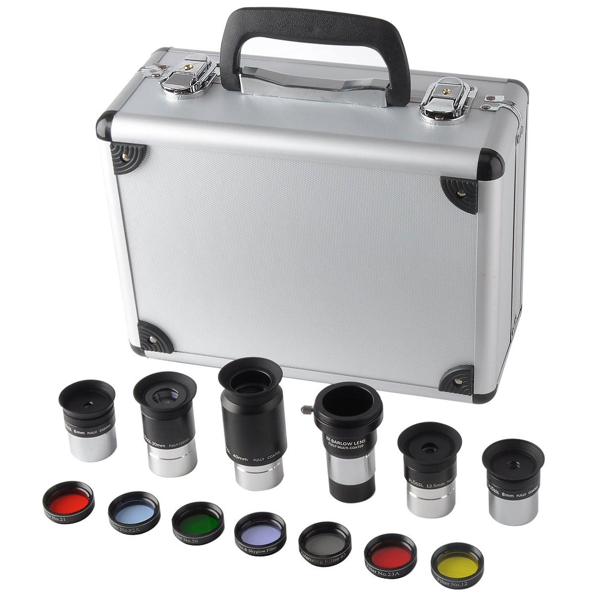 Gosky 1.25-Inch Premium Telescope Accessory Kit (Silver)- 5pcs Plossl Eyepiece Set, 7pcs Filter Set, 2X Barlow Lens by Gosky