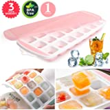 Ice Cube Trays 5 Packs,Food Grade Flexible Silicone Ice Trays Molds with Lids, Easy Release Ice Trays Make 105-Ice Cube, Stackable Dishwasher Safe, Non-Toxic,BPA Free Pink