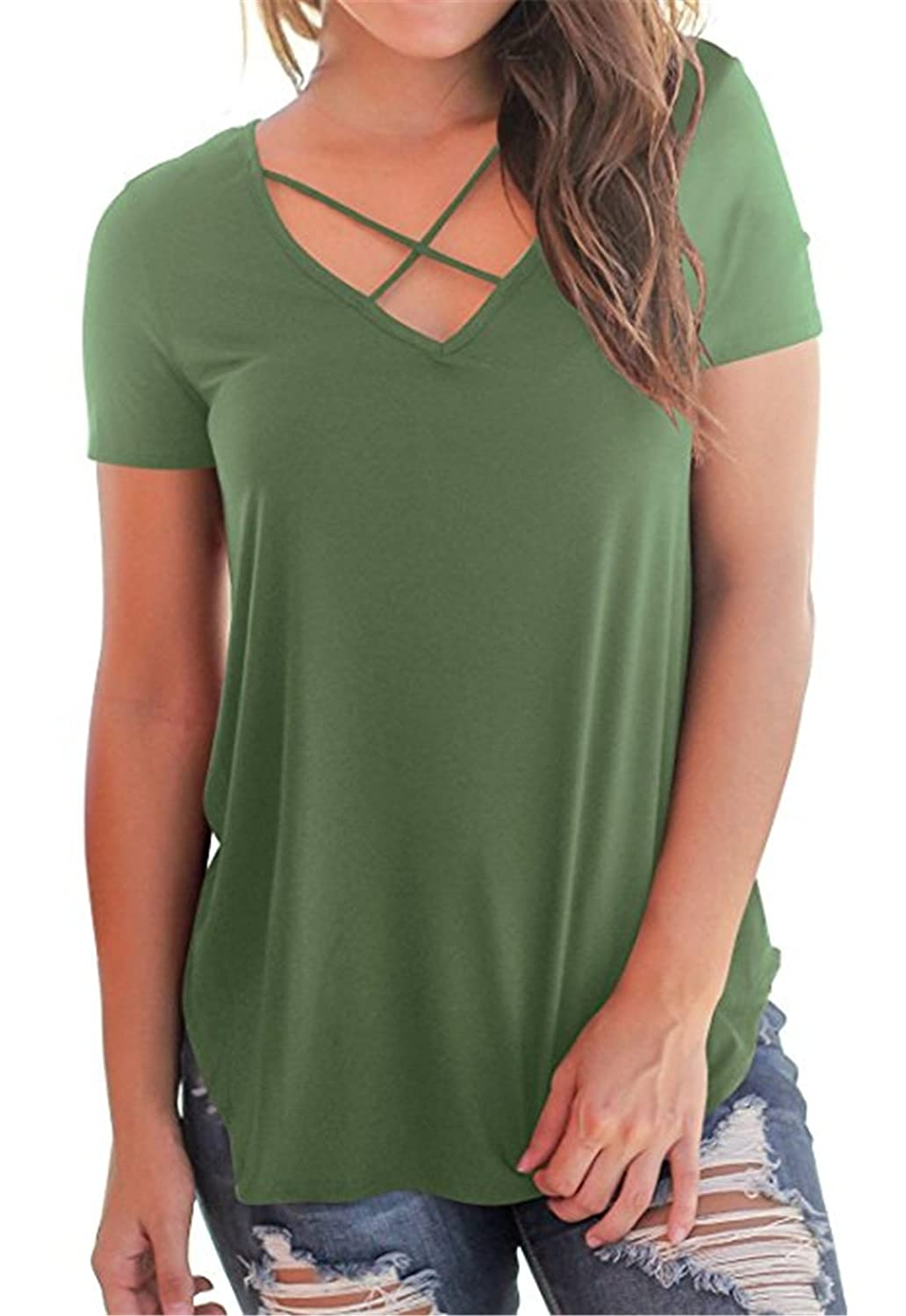 Aiyibao Women's Casual Short Sleeve Solid Criss Cross Front V-Neck T-Shirt Tops