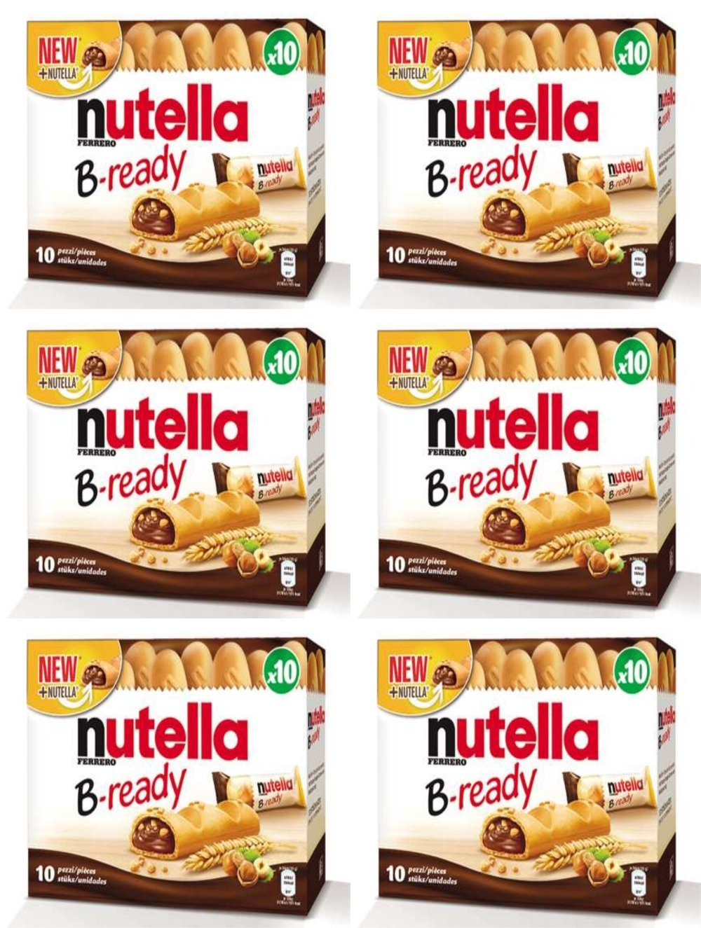Ferrero: ''Nutella B-ready '' a crisp wafer of bread in the form of mini baguette stuffed with a creamy Nutella 10 pieces 7,76 oz (220g) pack of 6