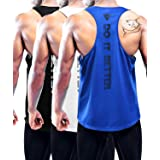 Men's 1~3 Pack Y-Back Gym Muscle Tank Mesh Sleeveless Top Fitness Training Cool Dry Athletic Workout