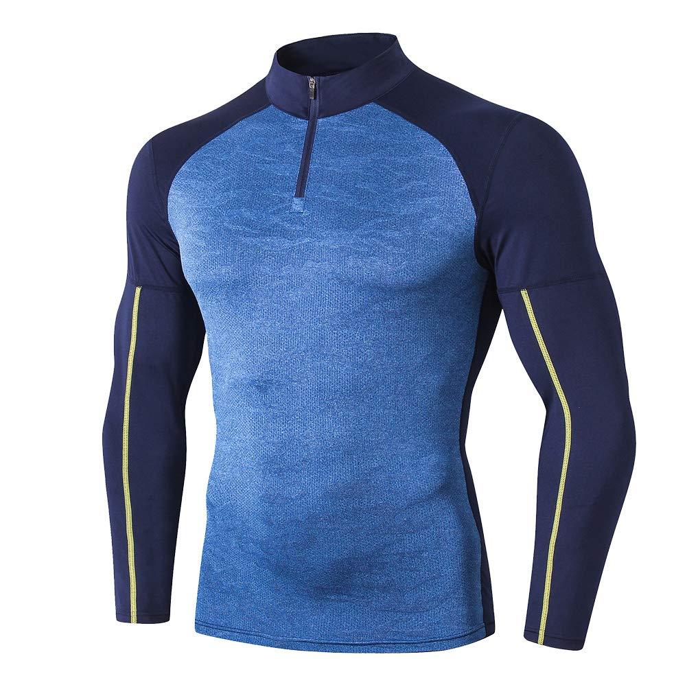 Shengwan Herren Langarm Kompressionsshirt Schnell Trocknend Fitness Laufshirt Sportshirt