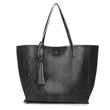 fba1aaa6128c7 Die Serpentine Frauen weichen Leder Handtasche Schultertasche mit Fransen  Frauen Mode Handtaschen Schwarz