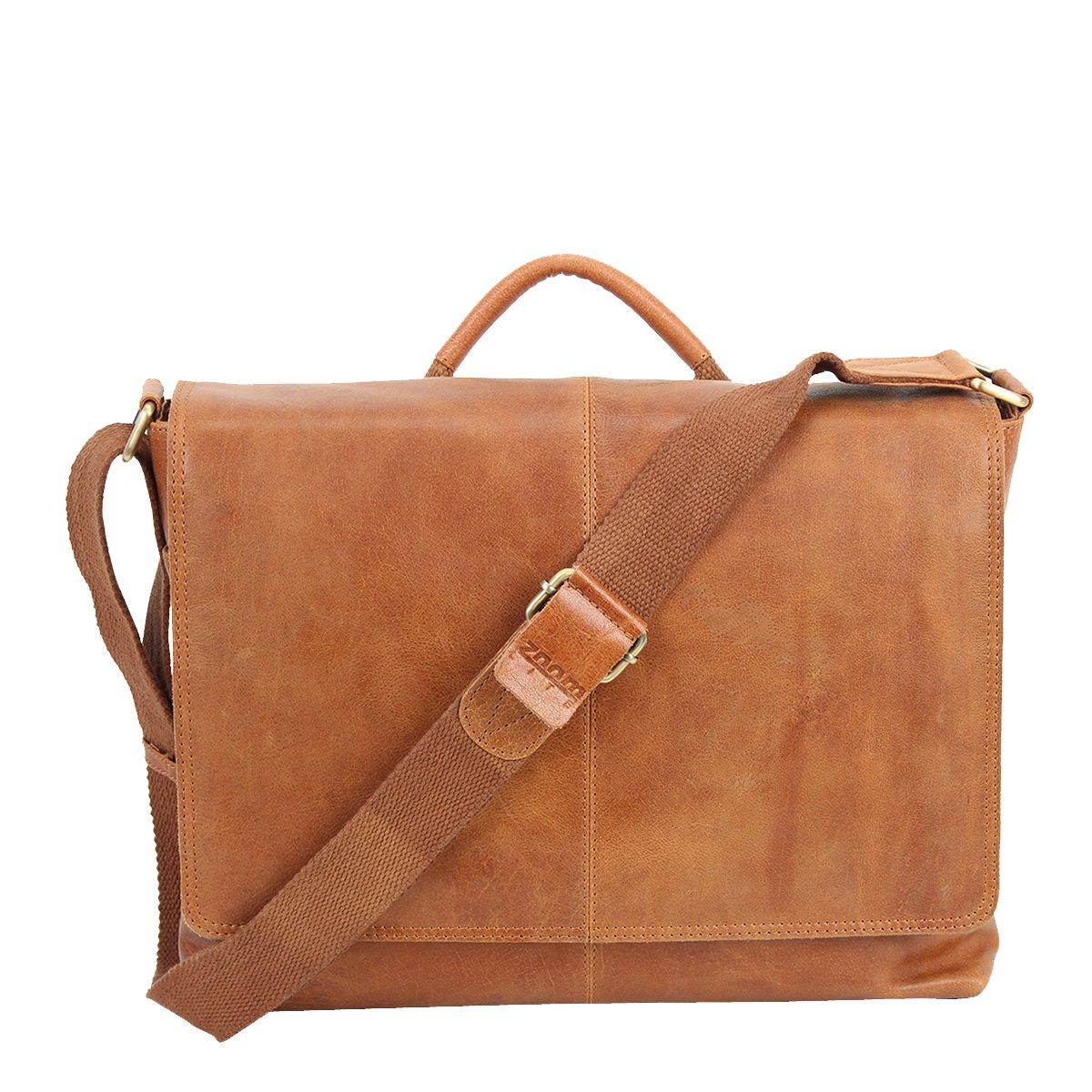 Parker Vintage Leather iLaptop Bag, by Zoomlite (Tan)