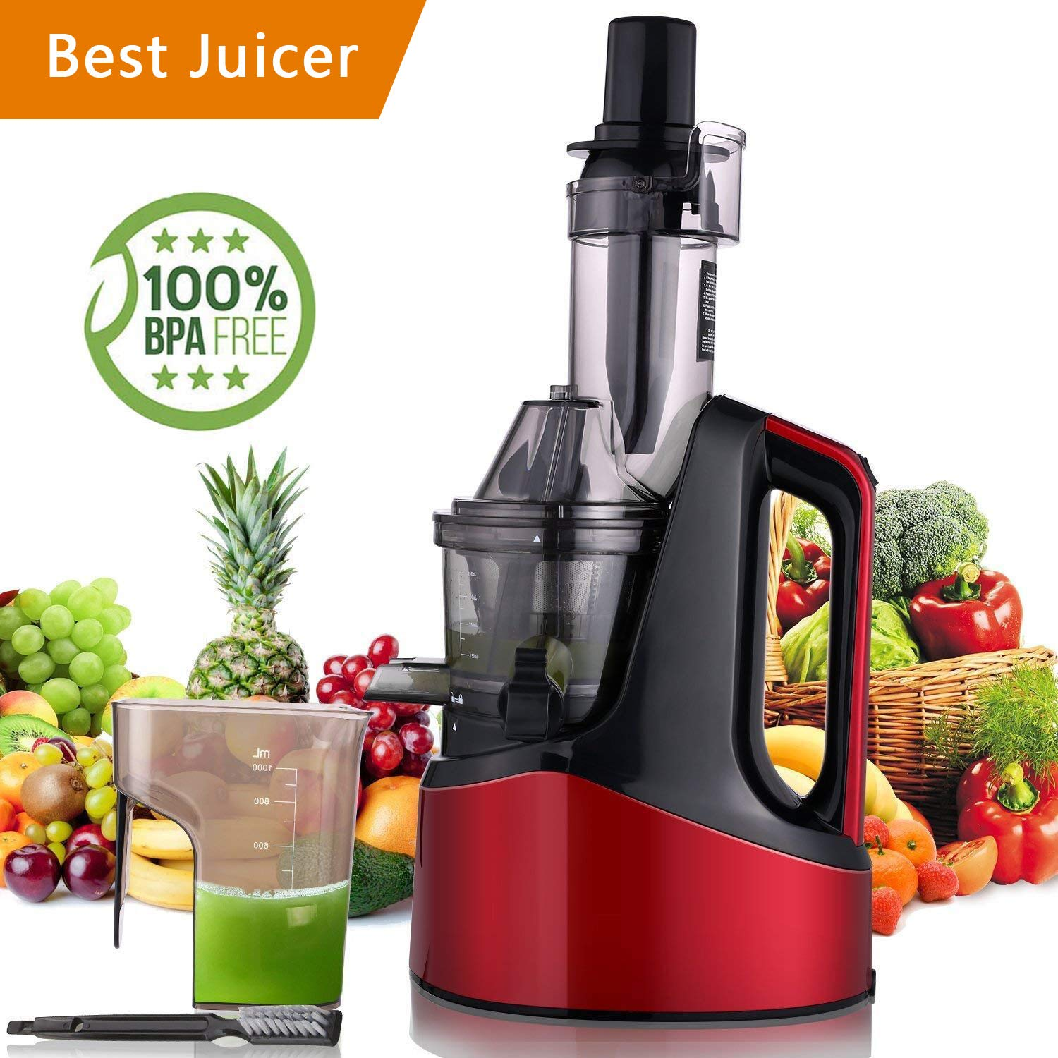 Slow Masticating Juicer Extractor, Cold Press Juicer Machine with Brush to Clean Conveniently High Nutrient Fruit and Vegetable Juice (Red) SuperPostman