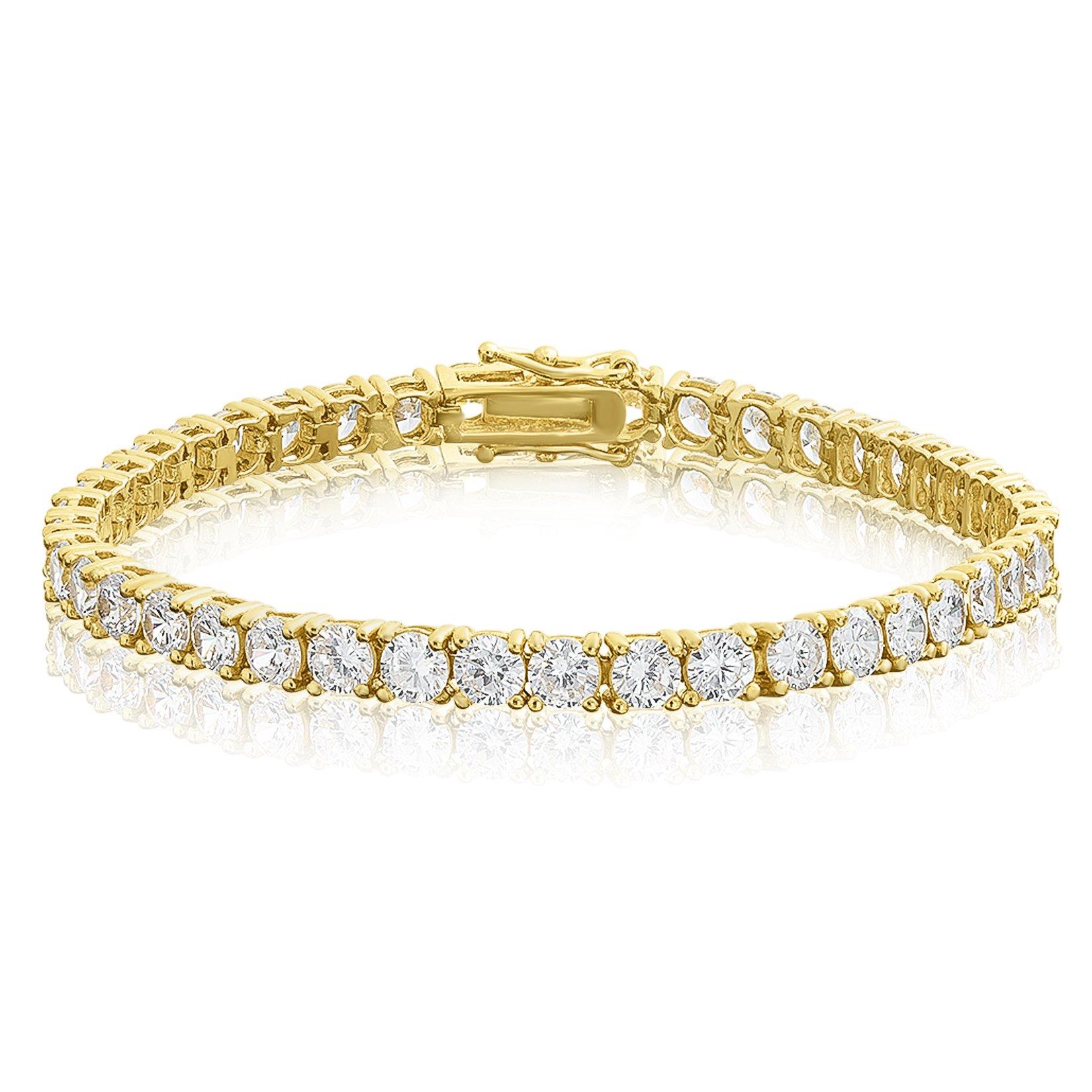KEZEF Creations Cubic Zirconia Tennis Bracelet Round Cut 4mm 14K Gold Plated Brass 8 inch Hypoallergenic for Women
